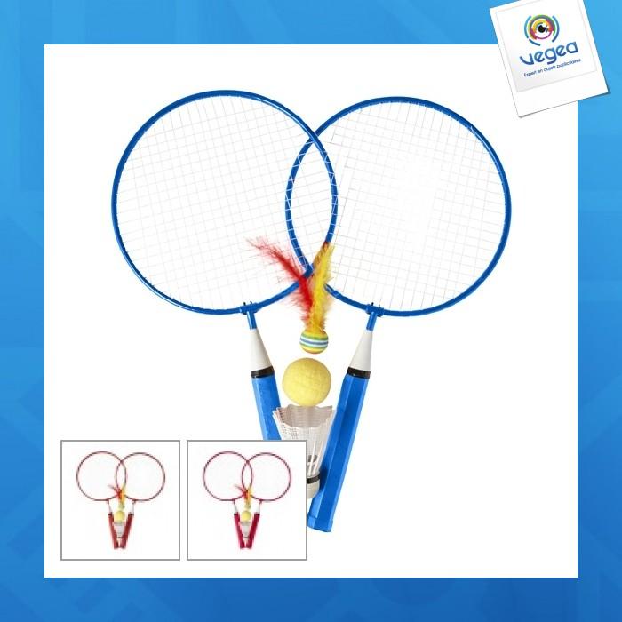 Set de 2 raquettes de badminton logoté en métal