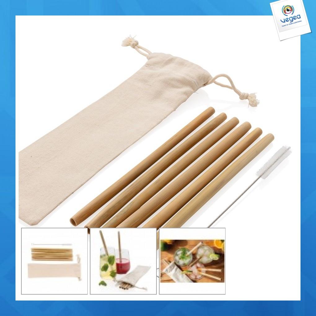 Set de 6 pailles logotées en fibres de bambou