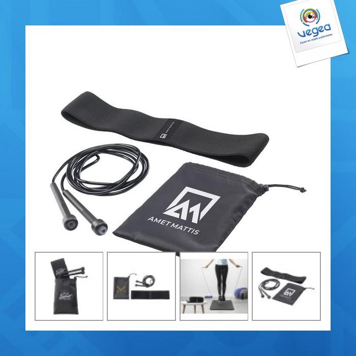 Set fitness avec corde à sauter publicitaire et bande élastique