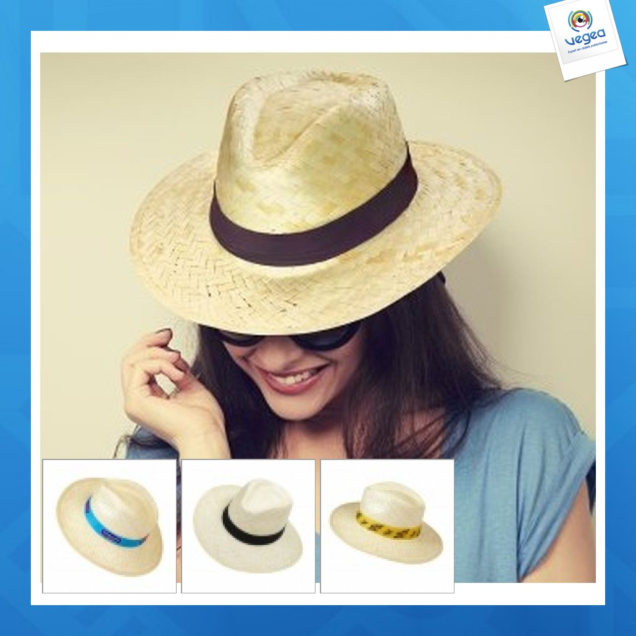 Sombrero de paja personalizable del tipo panamá