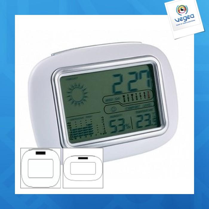 Station météo publicitaire avec horloge digitale calor