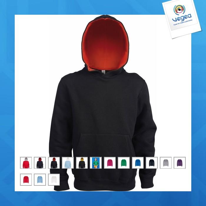 Sweat-shirt personnalisable capuche contrastée enfant kariban