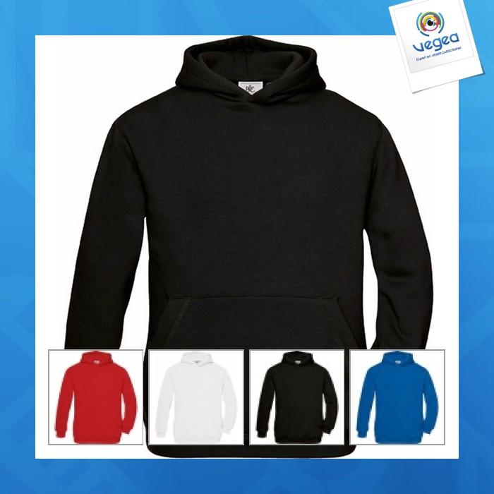 sweat à capuche enfant contrasté noir orange