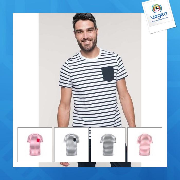 T-shirt publicitaire personnalisé  rayé marin avec poche