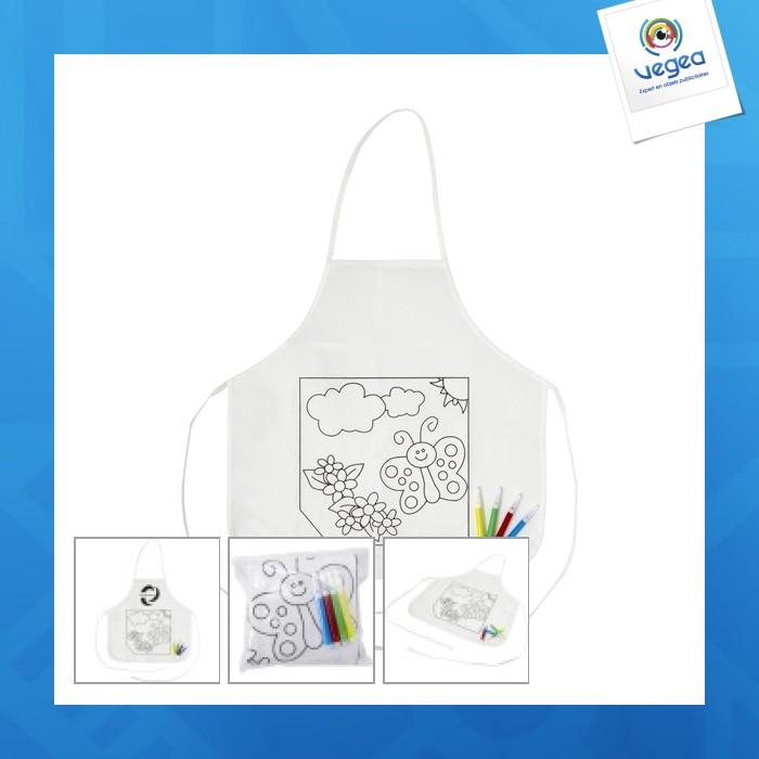 Tablier enfant en polyester à colorier livré avec 4 feutres