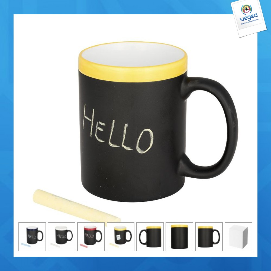 Taza de pizarra personalizable con tiza a juego