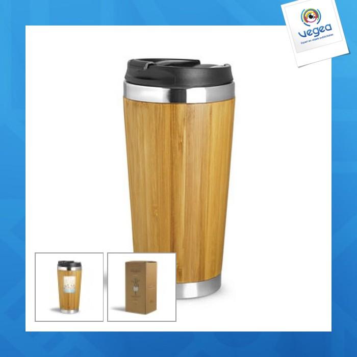 Taza isotérmica de promoción 40cl bambú