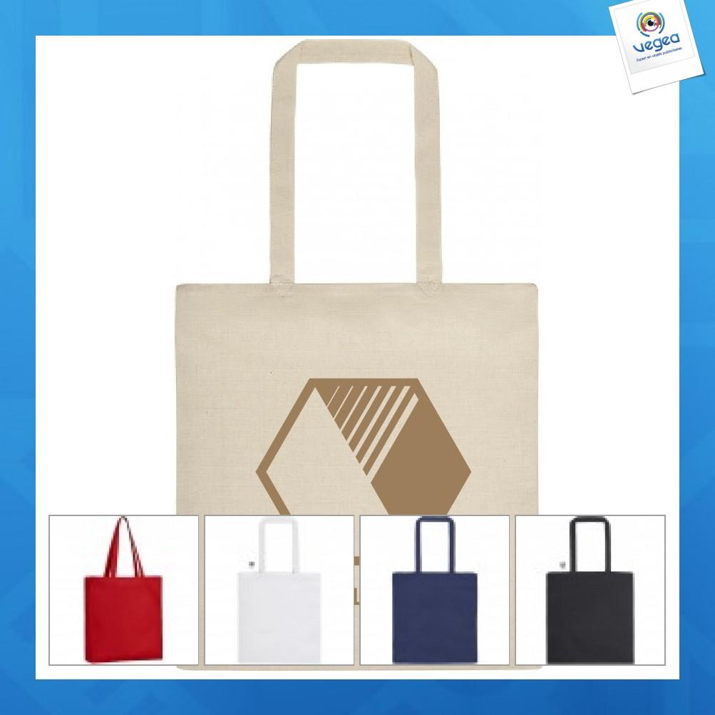 Tote bag personnalisable en coton zippé avec soufflet bel air