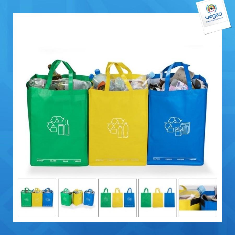 Triple sac poubelle personnalisable de tri