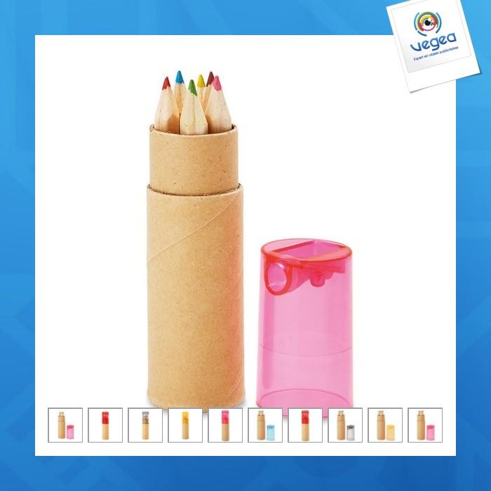 Tube de 6 crayons de couleur publicitaires