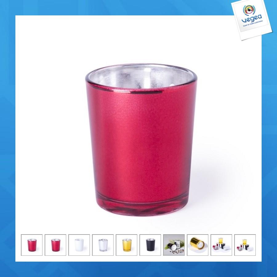 Vela personalizable en un vaso metálico
