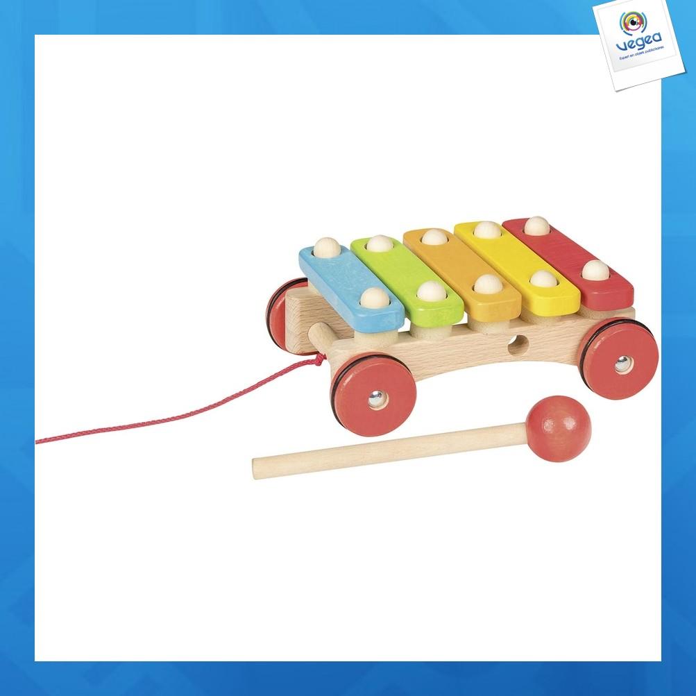 Xylophone publicitaire à roulettes